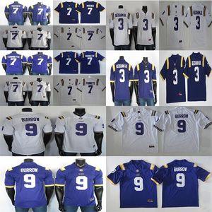 ЛГУ Тигры трикотажные изделия NCAA 9 Joe Burrow 7 Leonard Fournette 7 Tyrann Mathieu 3 Odell Beckham JR College Football Jersey белый синий