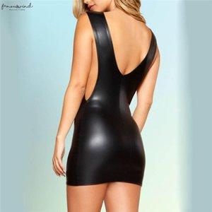 S Xxl Women Faux Leather Wet Look Sexy Backless Mini Dress Bodysuit Clubwear Dress H20 Drop Shipping