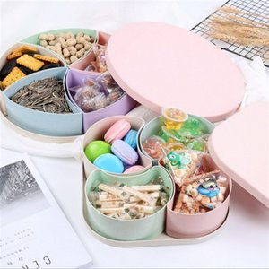 New Straw fruit tray Plastic separable lattice Candy box with lid Snack box New year fruit melon seed tray Storage box artifact