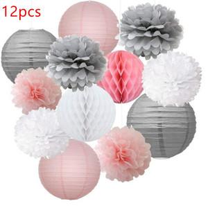 12 pcs Misturado Rosa Cinza Branco Pompons De Papel Decorativo Flor Pendurado Lanterna De Papel Bolas De Favo De Mel Decoraç ...