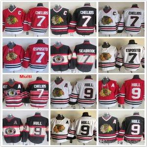 Vintage Chicago Blackhawks 7 Chris Chelios Brent Seabrook Phil Esposito 9 Bobby Hull rojo negro blanco cosido hockey camisetas