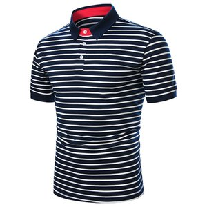 Striped Printed POLO Shirt Mens Summer Casual Short Sleeved Slim Lapel Neck Male Tops