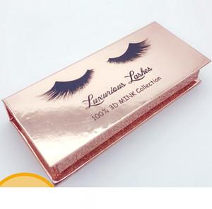 Rectángulo de la pestaña falsa caja de oro de papel de visón pestañas falsas de la caja de cosméticos pestañas vacías cajas de embalaje