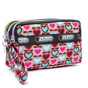 Mode féminine Porte-monnaie en toile de tissu Zipper Lady bourses Moneybags Floral Dot Porte-Monnaie embrayage sac à main Wristlet fille Portefeuilles Burse