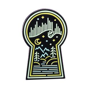 Night Sky Pin Polar Lights Abzeichen natürlichen Geschenk Emaille Pin