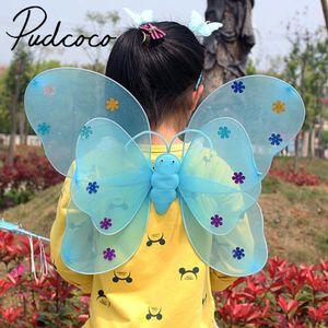 Pudcoco 3pcs de Led de luz intermitente Kid Girl Costume Set alas de la mariposa de la varita diadema