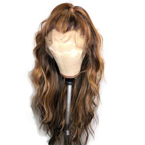 PAFF фронта шнурка человеческих волос Парики для женщин Body Wave Highlight Цветные Ombre Honey Blonde Бразильский полный парик шнурка Remy