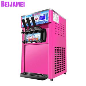 BEIJAMEI fábrica tricolor helado suave que hace la máquina mix eléctrico máquina de helados comercial con 3 Sabores