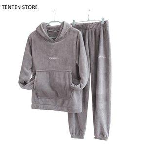 Winter Flannel Pajama Set Womens Fleece Pajamas Sleepwear Home Clothing Thick Warm Coral Velvet Female Nightgown Suit Pajama