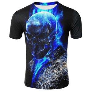 Mens-Schädel-T-Shirts Art und Weise Sommer-Kurzschluss-Hülsen-Ghost Rider kühle T-Shirt 3D-Blau-Schädel-Druck Tops Rock-Feuer-Schädel-T-Shirt Männer