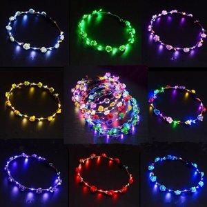 Parpadeante LED Hairbands cuerdas Glow Flower Crown Diademas Light Party Rave Floral Cabello guirnalda luminosa decorativa guirnalda LED iluminado juguetes