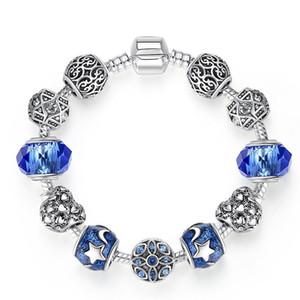 الأوروبي الجديد الكريستال الأزرق المرأة أزياء نجمة القمر DIY مطرز سوار العلامة التجارية الكلاسيكية مصمم المجوهرات سوار امرأة