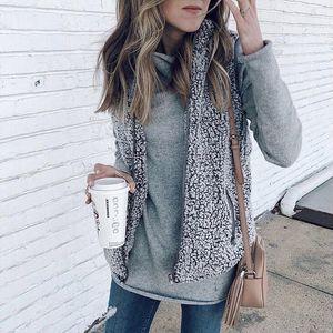 Женская мода фланель Жилет Кардиган Зимний теплый Outwear Повседневный искусственного меха Zip Up Sherpa пальто куртки Tops