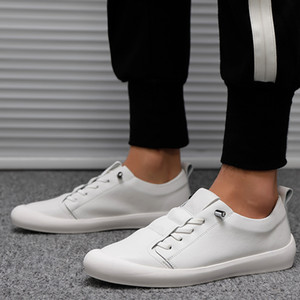 Genuine Leather Shoes Men Sneakers Casual Male Footwear Fashion White Shoes Mens Cow Leather White Sneakers KA1697