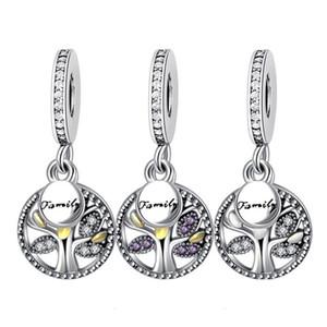 Charms Bracciale Family Tree PANDORA braccialetto Collana cubico zircone Fai da te Bead per monili che fanno degli accessori dei componenti Parte