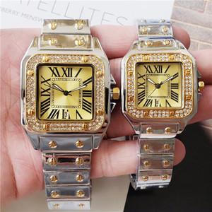 Großhandel hochwertige klassische römische Ziffer Uhren Top-Marke Saphir Uhr Edelstahl Quadrat Uhr Männer 40mm Frauen 33mm Orologio