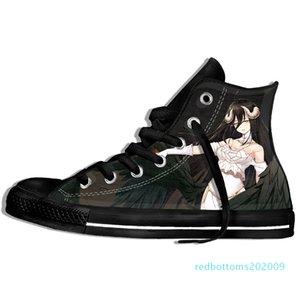 Imagem Personalizada Impressão Sneakers Chegada Popular Anime Overlord II Men / Harajuku Estilo Plimsolls lona respirável Walking Plano r09