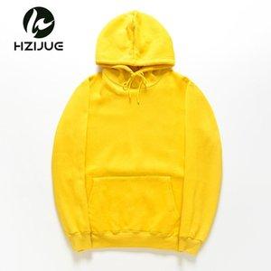 HZIJUE 2018 New yellow orange blue red HOODIE Hip Hop Street wear Sweatshirts Skateboard Men Woman Pullover Men's Thick Clothes