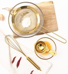 Нержавеющая сталь Gold Mesh Яйцо Лопатка Отдельные масло Сито муки Сито Сито Дуршлаги Мука Кофе сетки фильтра Кухня Bakware
