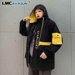 LMCAVASUN Harajuku Winter Korean Cargo Jacket Women Men Vintage Causal Hooded Coat 2019 Letter Hit Color Safari Style Jackets T200301