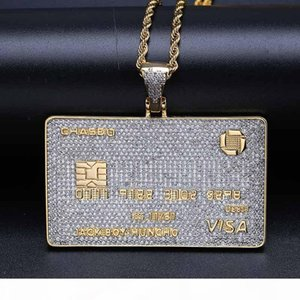 Top Quality 18K Gold & White Gold Full CZ Zircon VISA Bank Card Necklace Hip Hop Mens Iced Out Golden Diamond Card Jewelry Gifts for Boys