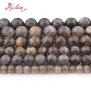 """4,6,8,10mm Liso Redondo Gris Larvikite Beads Bola Granos de Piedra Natural Para DIY Collar Pulsera Fabricación de Joyas 15 """"Envío Gratis"""