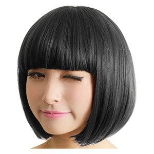 2020 LADY fille Bob perruque Femmes droite courte Bangs pleine Perruques Cosplay Party Dropshipping