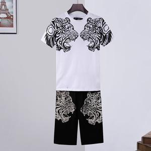 Высокий кристалл качества Череп футболки Set Mens Summer Basic Твердая тигр футболка Casual Punk письмо топы Tee одежды черный белый с коротким рукавом