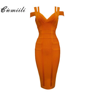 CIEMIILI 2019 Spaghetti Strap Solid Women Bandage Dresses Hollow Out Sleeveless Mid-Calf V-Neck Night Club Fashion Women Dresses T5190617