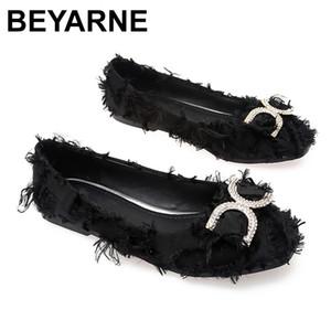 BEYARNE2020utumn New Women Fushia Crystal Flats Spring Lady Rhinestone Ballerina Flats Plus Size Party korean