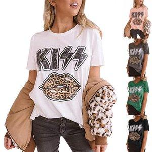 레오파드 입술 셔츠 여성 레오파드 프린트 키스 입술 그래픽 티 탑 T 셔츠 귀여운 여름 빈티지 T 셔츠 LJJO7949