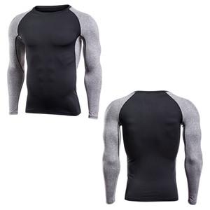 Yeni varış Hızlı Kuru Sıkıştırma Gömlek Uzun Kollu Eğitim tshirt Yaz Spor Giyim Katı Renk Vücut Yapısı Gym Crossfit