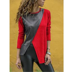 Kadın Tişörtü Moda Uzun Kollu Bölünmüş İlkbahar ve Sonbahar Bayanlar Casual Giyim Tasarımcı Deri panelli Tops