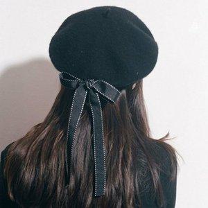 Frauen Art und Weise weiche Bogen Elegante Beret Winter-warmer Hut Dame Frühling Winter Berets Hat Painter Vintage-Solid Color Cap Female Bonnet