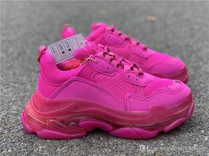 Las mujeres de los hombres de lujo papá de los zapatos ocasionales de cristal inferior Triple-S ocio de los zapatos zapatillas de deporte para hombres Zapatos de la vendimia viejo abuelo Trainer CON CAJA