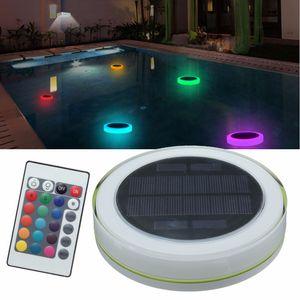 RGB LED تحت الماء ضوء الطاقة الشمسية بركة في الهواء الطلق حمام سباحة العائمة للماء ديكور الصمام الخفيفة مع جهاز التحكم عن بعد