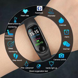 M3 컬러 스크린 스마트 시계 심장 박동 혈압 모니터링 피트니스 추적기 단계 카운터 블루투스 스마트 시계 스포츠 Writb