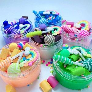 Arc-en-Lollipop Charms clair Slime doux Clay Plasticine Jouets colorés Slime enfants Stress Relief Toy Fluffy Slime jouet éducatif