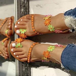 Frauen Sandalen Sommerschuhe flache Perle Sandalen komfortable Saite Wulst Pantoffel Frauen beiläufige plus Größe 34-43