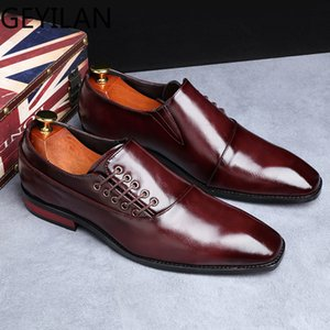 Leather Shoes for Men 2019 Formal Dress Wedding Shoes British Style Business Office Lace-Up Leather Sheos Loafers Plus Size 48