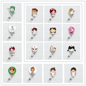 Cute Korea Badge Reel Retractable Pull Buckle ID Card Badge Holder Reels Belt Clip Hospital School Office Supplies Anti-Lost Clip