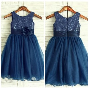 Bling Bling paillettes Top A-Line Flower Girls Dresses Tulle Formal Sleeveless Personalizzato 2019 Birthday Party Gowns Simple Girls Formal Wear