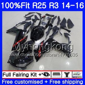 Корпус впрыска для YAMAHA YZF R3 R25 YZF-R3 YZFR25 14 15 16 17 240HM.5 YZF-R25 R 25 YZFR3 2014 2015 2016 2017 обтекатели топ глянцевый черный комплект