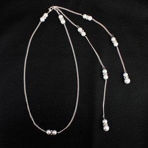 Brautschmuck Europa Und Die Vereinigten Staaten Set Diamant Perle Anhänger Quaste Zurück Kette Braut Halskette 2019 Hot
