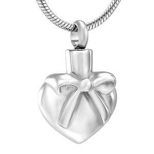 IJD12443 Silk Band-Herz-Edelstahl Einäscherung Andenken Anhänger für Asche Urn Memorial Andenken Halskette Schmuck