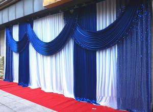 3 * 6 m (10ft * 20ft) kraliyet mavi backdrop kilisesi Sahne Perde Pullu Swags ile Buz Ipek Düğün Parti Sahne Dekorasyon
