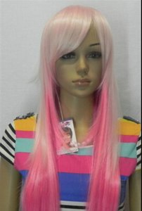 WIG free shipping Long Lady Heat Resistant Curly Pink Cosplay Costume Wigs