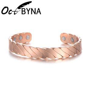 Octbyna 2019 Anti-Fatigue Magnet Salute braccialetto per le donne in oro rosa braccialetto di rame Maschio Bangles magnetici