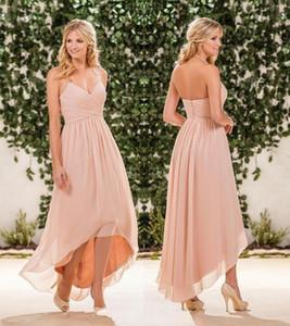 섹시한 홍당무 핑크 시폰 하이 낮은 신부 들러리 드레스 홀터기 주름 롱 비치 국가 정원 하녀의 명예 가운