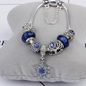 Granos del encanto aptos para pandora Joyas 925 Pulseras de plata Copo de nieve Colgante Brazalete cielo azul calabaza encantos del carro Diy Joyería con caja de regalo